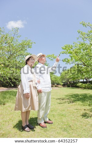 Pointing Japanese elderly couple