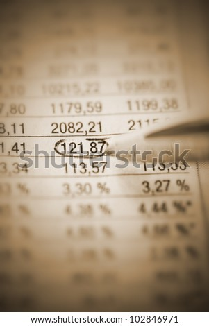 Pointing / Marking the high point  of an company analysis........... - stock photo