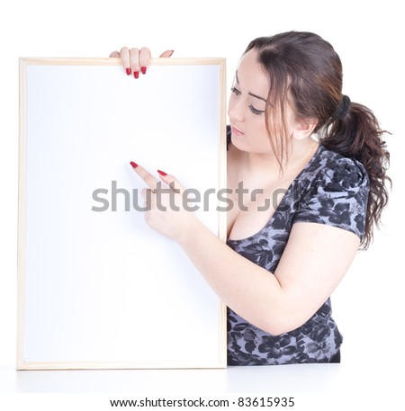 pointing overweight, fat woman with blank sign, billboard - stock photo