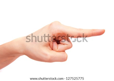 Pointing (showing) finger close up isolated on white background.