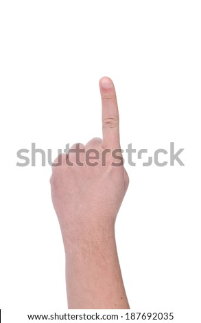 Pointing the finger. Man's hand. Isolated on a white background.