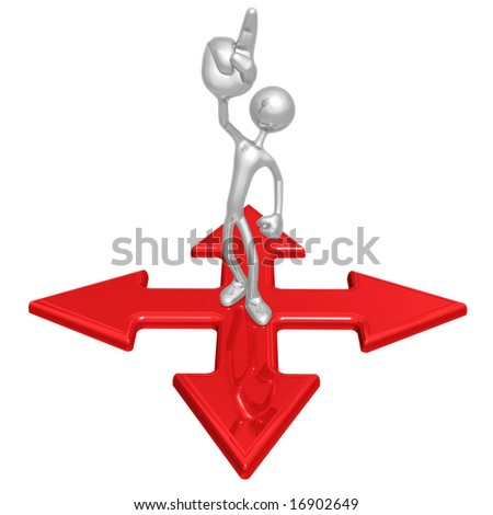 Pointing Up At Crossroad - stock photo
