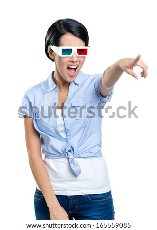 Pointing with hand pretty girl in 3D glasses, isolated on white. Expression of disgust - stock photo