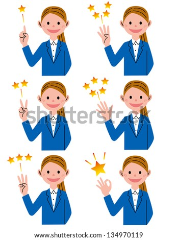Pointing woman - stock photo