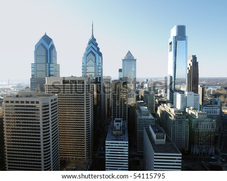 Pointy Philadelphia towers on a bright sunny afternoon. - stock photo
