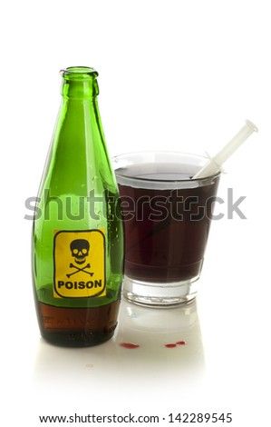 Poison bottle with label and glass - stock photo