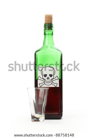 Poison bottle with warning sign in label and empty glass - stock photo
