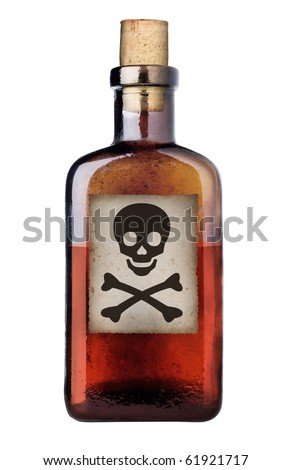 Poison bottle with warning sign in label, isolated, clipping path. - stock photo