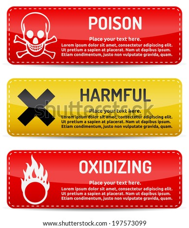 Poison, Harmful, Oxidizing - Danger, hazard sign on warning banner with light gradient reflection and shadow on white background - stock photo