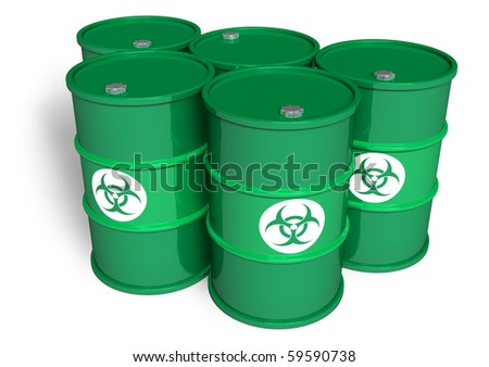 Poisonous barrels - stock photo
