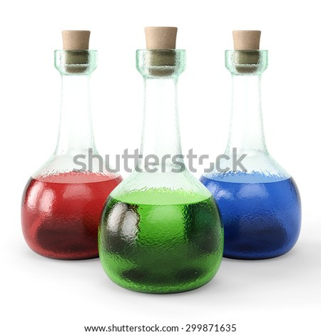 poisons in glass vials. isolated on white background. - stock photo