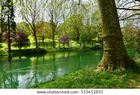Poissy, France - mai 2 2016 : the Meissonier park in spring