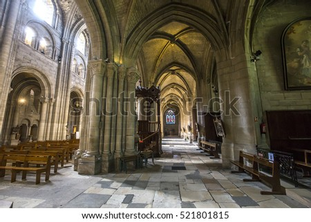 POISSY, FRANCE, SEPTEMBER 12, 2016 : interiors and details of Collegiale notre dame church, september 12, 2016, in Poissy, yvelines, France