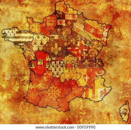 Poitou-Charentes on old map of france with flags of administrative divisions