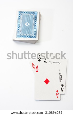Poker aces on the white background. - stock photo