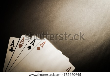 poker aces. view of top - stock photo