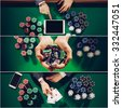 Poker and Casino collage of pictures, top view. Gambling concept - stock photo