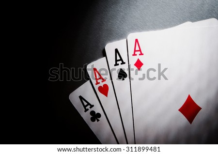 poker cards aces on background - stock photo