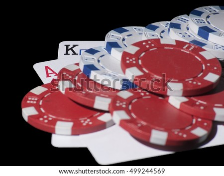 Poker cards. AK and chips black background