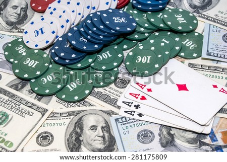 poker cards, american money, poker chips. business concept - stock photo
