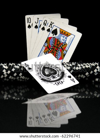 Poker cards an chips - stock photo
