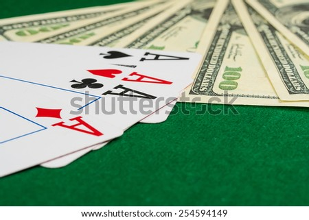 Poker cards and dollars. Poker background - stock photo