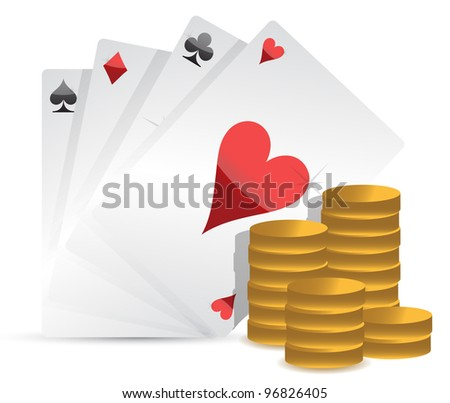 Poker cards and gambling money over white background