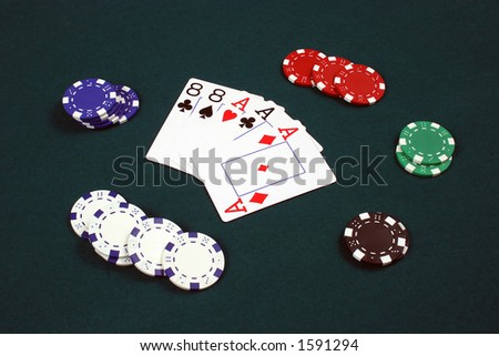 poker cards full house - stock photo