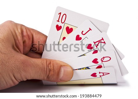 poker cards, games and objects of betting and casinos - stock photo