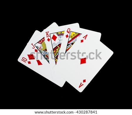 Poker cards, Royal flash - stock photo