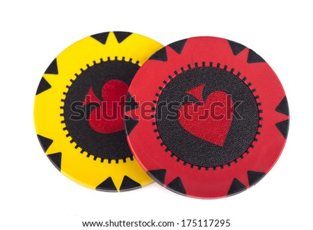 Poker chip isolated on white background - stock photo