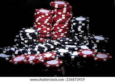 poker chip night background - stock photo