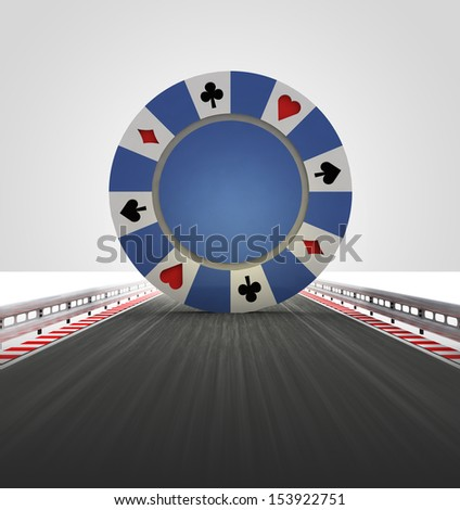 poker chip on motorway track leading to casino illustration - stock photo