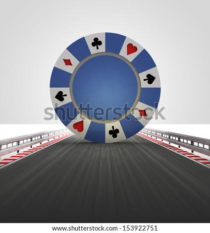 poker chip on motorway track leading to casino illustration - stock photo