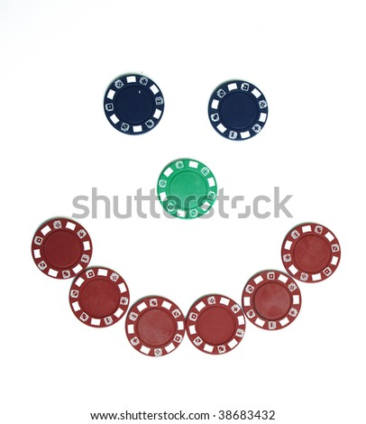 Poker chip smiley face - stock photo