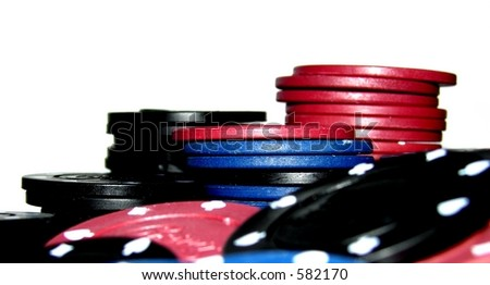 Poker Chips A large stack of poker chips - stock photo