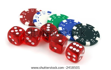 Poker chips and 5 dice on a white background