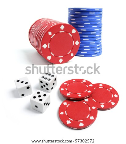 Poker Chips and Dice on White Background - stock photo