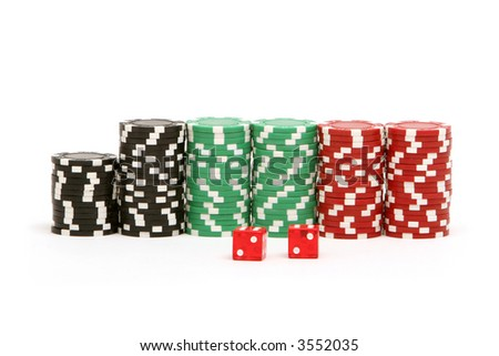 Poker chips and dices
