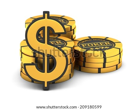Poker chips and dollar sign on a white background - stock photo