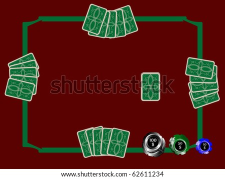 poker chips and table with cards, abstract art illustration; for vector format please visit my gallery - stock photo