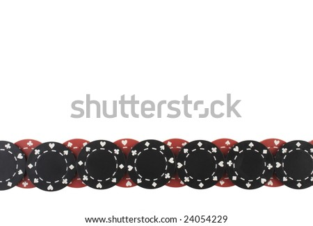 Poker chips border pattern isolated on white - stock photo