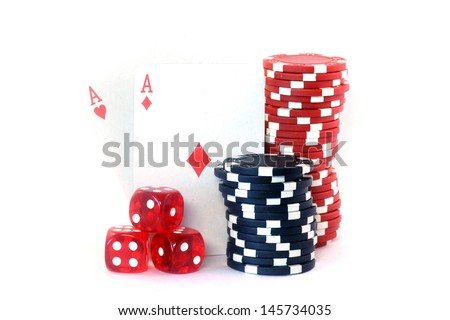 Poker chips, cards and dice isolated on white background