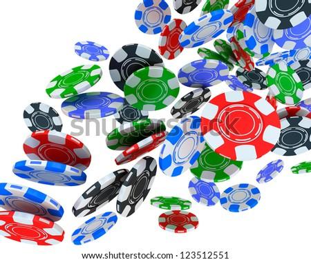 Poker chips falling on white background. - stock photo