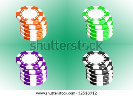 Poker chips i different colors