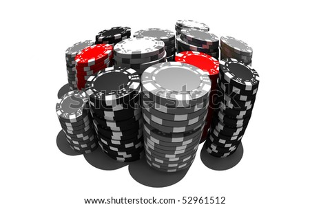 poker chips - isolated on white - stock photo