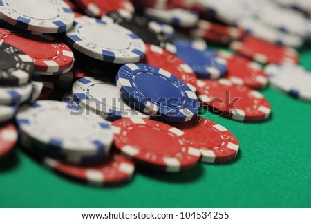 Poker Chips multi colored close up