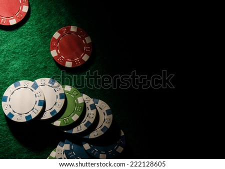 poker chips on a table - stock photo