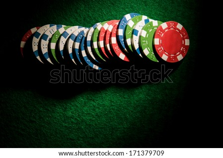 poker chips on a table. Top view. - stock photo