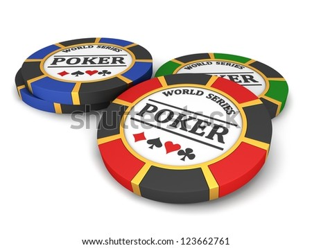 Poker chips on a white background. - stock photo